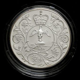 1977 Sterling Silver Proof Silver Jubilee Crown Reverse