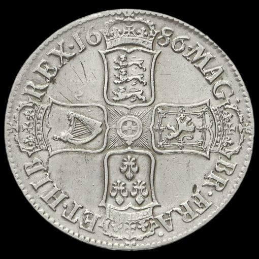 1686 James II Early Milled Silver Crown Reverse