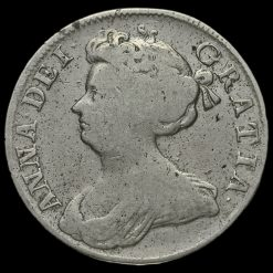 1709 Queen Anne Early Milled Silver Half Crown Obverse