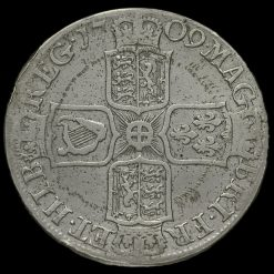 1709 Queen Anne Early Milled Silver Half Crown Reverse