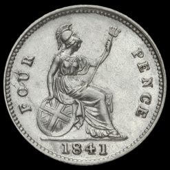 1841 Queen Victoria Young Head Silver Fourpence / Groat Reverse