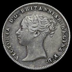 1843 Queen Victoria Young Head Silver Fourpence / Groat Obverse