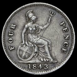 1843 Queen Victoria Young Head Silver Fourpence / Groat Reverse