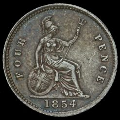 1854 Queen Victoria Young Head Silver Fourpence / Groat Reverse