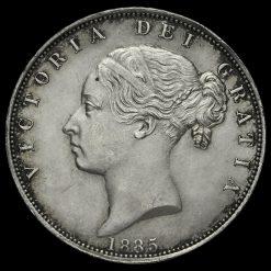1885 Queen Victoria Young Head Silver Half Crown Obverse