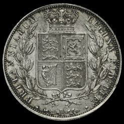 1885 Queen Victoria Young Head Silver Half Crown Reverse