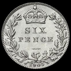 1905 Edward VII Silver Sixpence Reverse