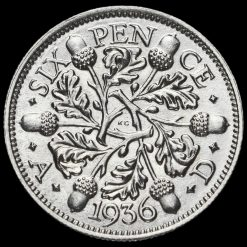 1936 George V Silver Sixpence Reverse