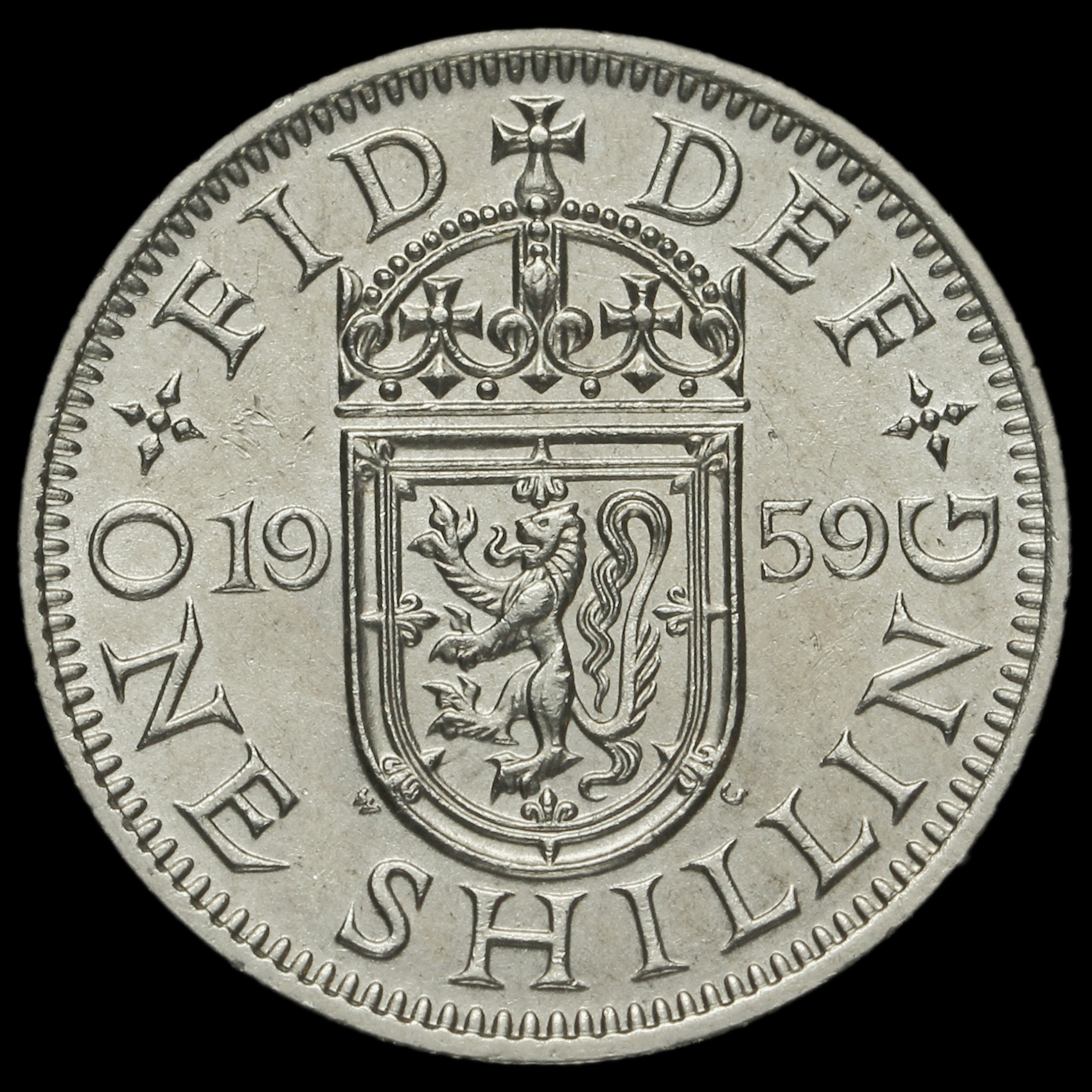 1959 Queen Elizabeth II Scottish Shilling, Rare