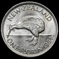 1964 New Zealand Elizabeth II Florin Reverse