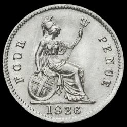 1836 William IV Milled Silver Fourpence / Groat Reverse