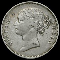 1840 British India Queen Victoria Silver One Rupee Obverse