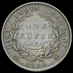 1840 British India Queen Victoria Silver One Rupee Reverse