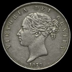 1878 Queen Victoria Young Head Silver Half Crown Obverse