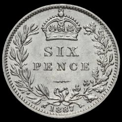 1887 Queen Victoria Jubilee Head Silver Wreath Sixpence Reverse