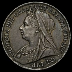 1899 Queen Victoria Veiled Head Silver LXIII Crown Obverse
