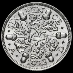 1928 George V Silver Sixpence Reverse