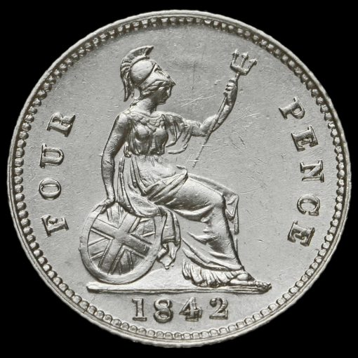 1842 Queen Victoria Young Head Silver Fourpence / Groat Reverse