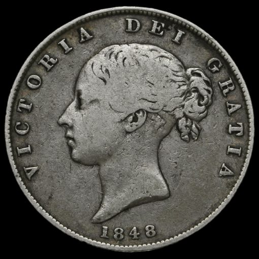 1848 Queen Victoria Young Head Silver Half Crown Obverse
