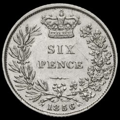 1856 Queen Victoria Young Head Silver Sixpence Reverse