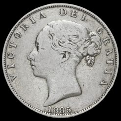 1885 Queen Victoria Young Head Silver Half Crown Obverse