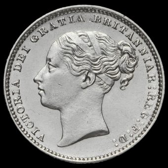 1885 Queen Victoria Young Head Silver Shilling Obverse