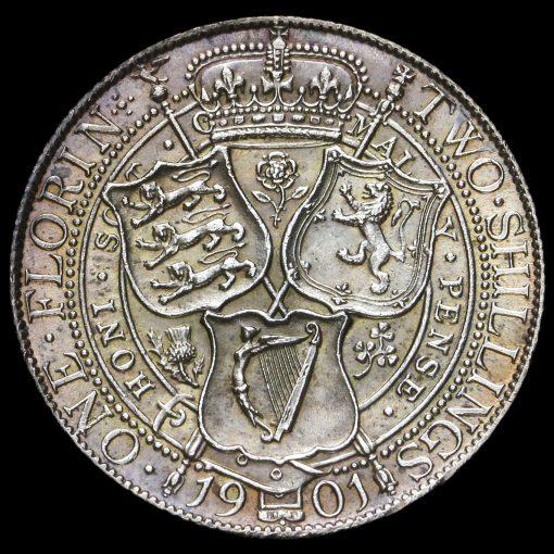 1901 Queen Victoria Veiled Head Silver Florin Reverse