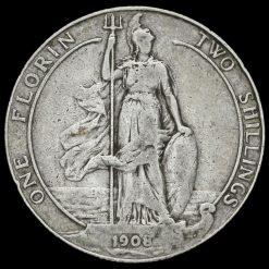 1908 Edward VII Silver Florin Reverse
