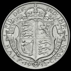 1913 George V Silver Half Crown Reverse