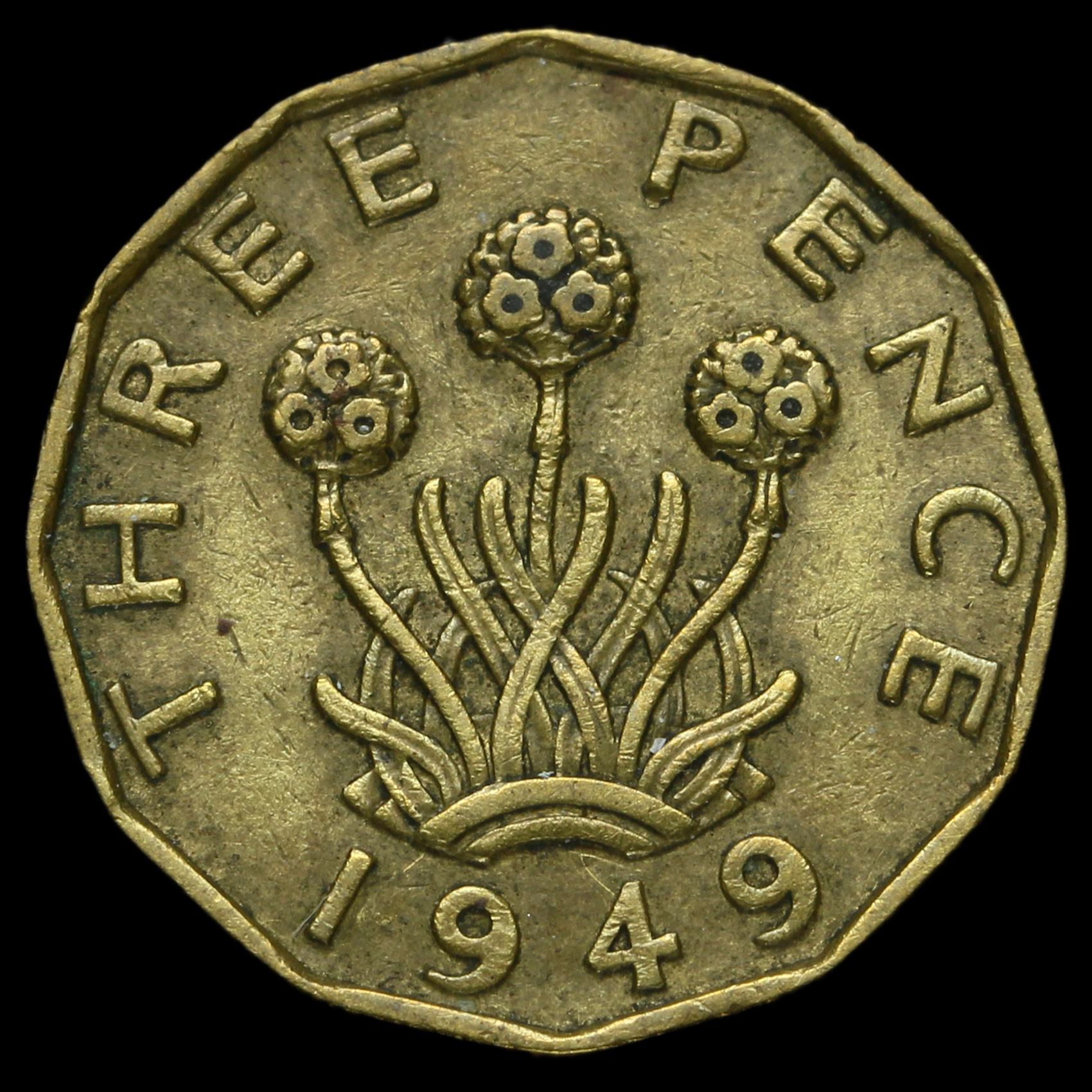 1949 George VI Brass Threepence, Rare, AVF