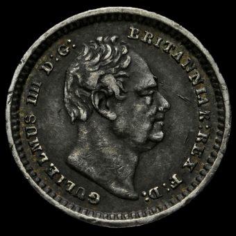 1834 William IV Milled Silver Three-Halfpence Obverse