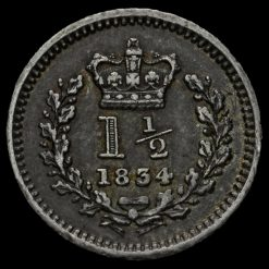 1834 William IV Milled Silver Three-Halfpence Reverse