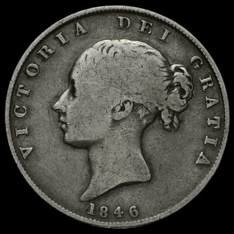 1846 Queen Victoria Young Head Silver Half Crown Obverse