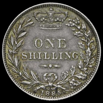 1885 Queen Victoria Young Head Silver Shilling Reverse