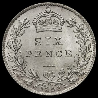 1893 Queen Victoria Veiled Head Silver Sixpence Reverse