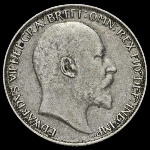 1909 Edward VII Silver Sixpence Obverse