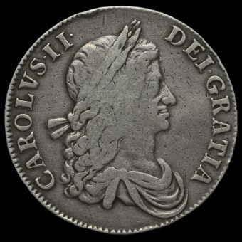 1662 Charles II Early Milled Silver Crown Obverse
