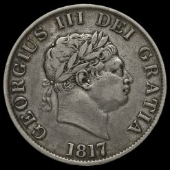 1817 George III Milled Silver Half Crown Obverse