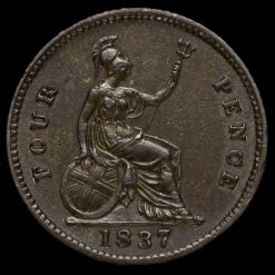 1837 William IV Milled Silver Fourpence / Groat Reverse