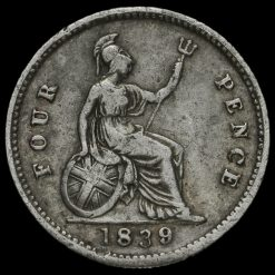 1839 Queen Victoria Silver Fourpence / Groat Reverse