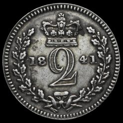 1841 Queen Victoria Young Head Silver Maundy Twopence Reverse