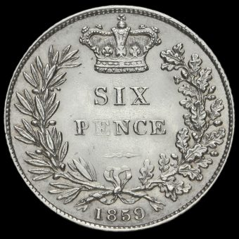 1859 Queen Victoria Young Head Silver Sixpence Reverse