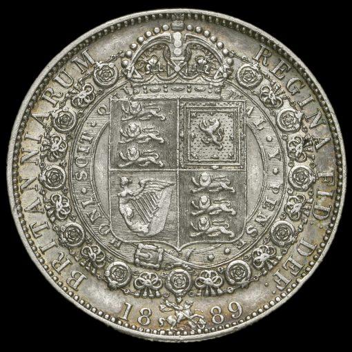1889 Queen Victoria Jubilee Head Silver Half Crown Reverse
