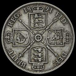 1891 Queen Victoria Jubilee Head Silver Florin Reverse