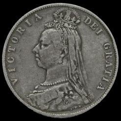 1892 Queen Victoria Jubilee Head Silver Half Crown Obverse