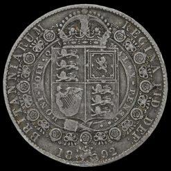1892 Queen Victoria Jubilee Head Silver Half Crown Reverse