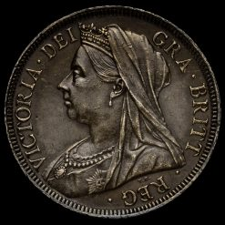 1901 Queen Victoria Veiled Head Silver Half Crown Obverse