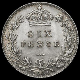 1901 Queen Victoria Veiled Head Silver Sixpence Reverse
