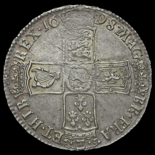 1698 William III Early Milled Silver Decimo Half Crown Reverse