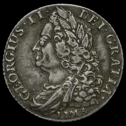 1745 George II Early Milled Silver Lima Shilling Obverse
